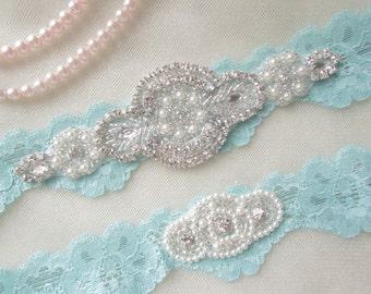 Wedding Garter Set, Bridal Garter Set, Vintage Wedding,Aqua  Blue Stretch Lace Garter, Crystal Garter Set