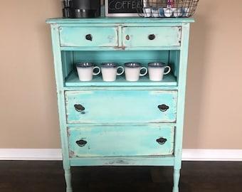 Turquoise Distressed Dresser