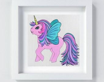 Pink Unicorn Nursery Art, Pink Pegasus Art Print, Unicorn Painting Print, Unicorn Decor, Baby Girl Gift, Unicorn Kids Room Art, Baby Shower