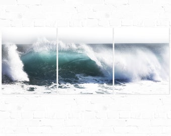 Wave Photography, Triptych, Rolling Wave, Crystal Cove Wave, Ocean Photography, Nature Landscape