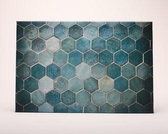 Gift Framed Canvas Wall Art Traditional Turkish Turquoise Hexagon Tiles