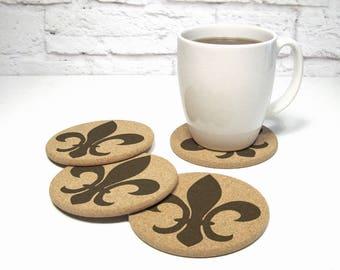 FLEUR DE LIS Cork Coaster Set Hostess Gift Idea Cubicle Decor