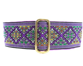 Purple Martingale Dog Collar Greyhound, Jacquard Martingale Collar, 2 Inch Dog Collar, Jacquard Dog Collar, Special Occasion Dog Collar