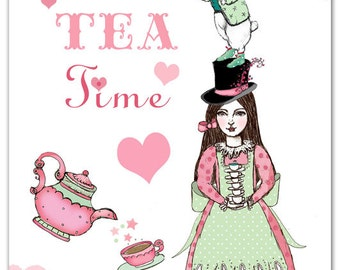 Wonderland Tea Time - 5 Postcard set