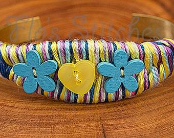 Yellow and Blue Flower Heart Bracelet