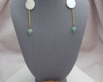 Natural shell with Aventurine dangle earrings