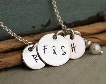 Initials Necklace / Personalized Mommy Necklace / Hand Stamped Jewelry / Sterling Silver Necklace with kids initials and pearl