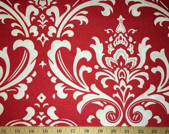 Red White Scroll Fabric Red Damask Fabric Red & White Cotton Quilting Fabric a2/26