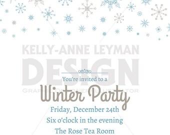 Printable Winter Invitation, Printable Holiday Invitation, Digital Background, Commercial Use, Digital Download Art, Vector Graphics