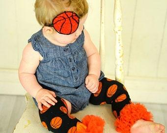 Basketball SET Leg Warmers and Headband Baby Outfit  leggings pants  Bow