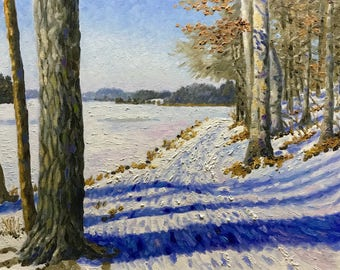 "Original Impressionist Oil Painting ""Impressions at the Lake, January""  16x20"