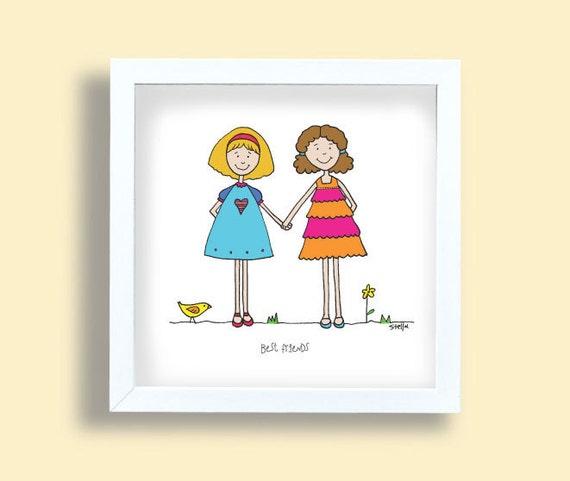 meilleurs amis affiche deux jeunes filles dessin les filles. Black Bedroom Furniture Sets. Home Design Ideas