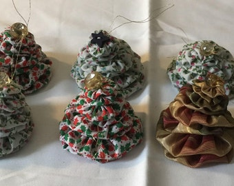 Fabric YoYo Christmas Tree Ornaments Eco Friendly OOAK Nothing Wasted Christmas Home Decor Gift Topper Handmade Buy 3 Get 1 FREE!
