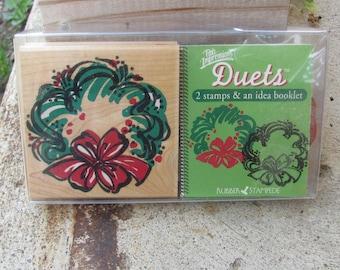 Rubber Stampede, Posh Impressions, Wreath Duet Stamping Set, Z958H