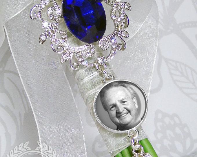 Something Blue Bouquet Charm, Custom Photo Memory Charm, Personalized Memorial Bouquet Bridal Charm,  Wedding Brooch, Bridal Bouquet Pin