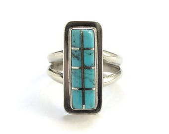 Vintage Zuni Sterling Silver Channel Inlay Turquoise Ring Size 7 Rectangular Native American