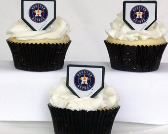12 Houston Astros Cupcake Rings MLB Baseball Toppers Party Favors