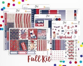 American Made- A LA CARTE Vertical Weekly Kit planner stickers