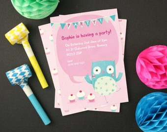 Personalised Girl's Owl Party Invitations -- Minimum order 8