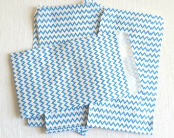 Blue and White Mini Striped zigzag chevron Paper Bag- Gift Bag, Notion Bag, Party Favor, Party Supply, Shop Supply, Treat Bag, Merchandise
