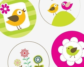 Trendy Flowers and Birds  - 12mm x 12mm Round Earring and Pendant Images - Buy 2 Get 1 Free - Earring Images - Instant Download - Scrapbook