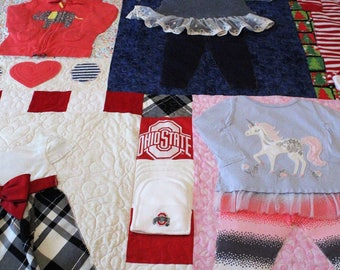Baby clothes quilt, baby girl quilt, baby boy quilt, baby quilt, twin, full, queen, king, handmade, personalized, custom, first year quilt