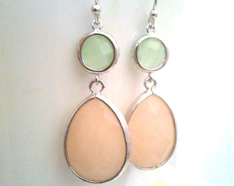 Peach Wedding earrings, Mint Green Drop earrings, Soft Peach Dangle earrings, Salmon Pink,bridesmaid gifts, Gemstone,Wedding jewelry,gift