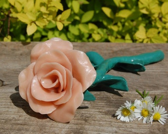 Mother's Day Rose, Valentine's Day Rose,  Anniversary Rose, Gift for Mom, Pink Rose, Keepsake, Handmade Clay Rose, Clay Flower, Gift for Her
