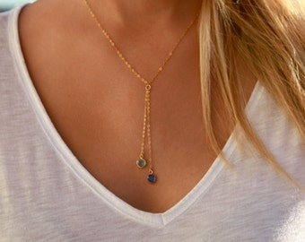 Birthstone Necklace / Simple Birthstone Necklace / Simple Y Necklace / Gold or Silver / Dangling Gemstones / Lariat Gemstone Necklace
