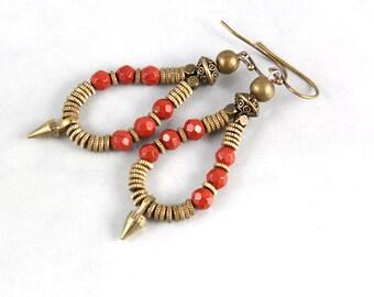 Red Jasper Hoop Earrings , Ethnic Jewelry, Spike Earrings, Gemstone Hoop Earrings, Tribal Jewelry, Boho Earrings, Lapis Spike Earrings