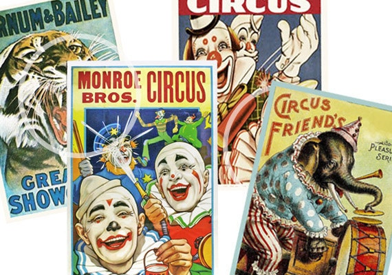 Circus Vintage Posters Printable Clown Party Decoration Cards Carnival Scrapbook Supplies Birthday School From Sssstudio