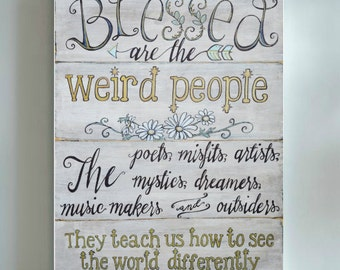Blessed Are The Weird. Cardstock or Wrapped Canvas. professional art print - boho pastel aqua and gold