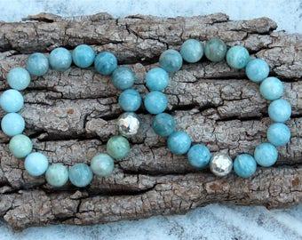 ZenHappy Aquamarine or Morganite Gemstone Mala Stretch Bracelet - Large 12mm Gemstones with Sterling Silver Accent; Chunky Gemstone Bracelet
