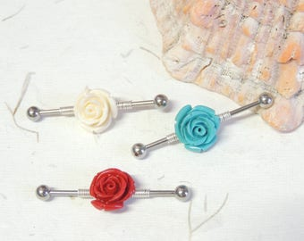 Rose Industrial Barbell You Choose Color and Bar Length, Flower Industrial Barbell, Scaffold Ear Earring, 14g Barbells