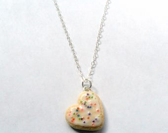 Heart Frosted Sugar Cookie Necklace, Cute :D