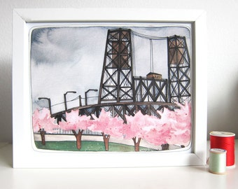 Art - Portland Art - Original Painting - Steel Bridge Painting - Steel Bridge Portland Oregon - Portland Illustration - Spring Time Portland