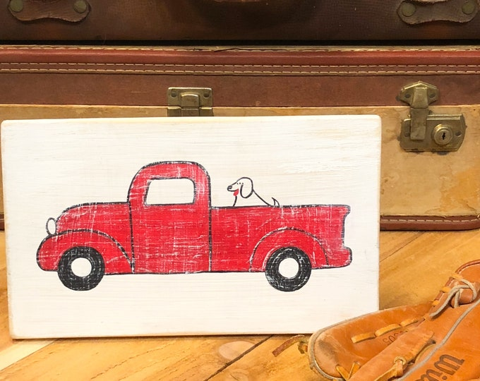 Red Truck and Dog. Rustic Red Truck Sign. Kids Room Decor. Dog Art. Farmhouse Decor. Boys Room Decor. Dog Mom. Red Truck Decor. Kids Bedroom