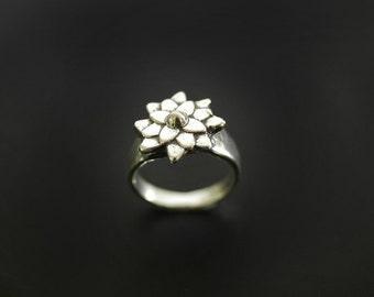 Flower Ring Asian Mum Sterling Botanical Ring