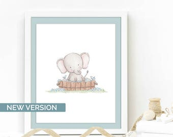 Kids bath wall art, Baby elephant nursery print, Jungle nursery, Animal art, Kids room print decor