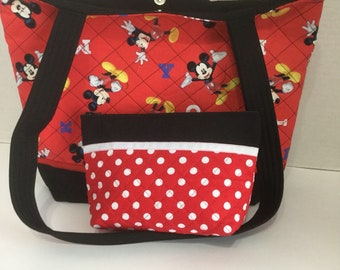 Mickey Mouse Quilted Purse - Quilted Tote - Market Bag -Shopping Bag -Shoulder  Bag - NFL Tote - NHL Tote - Mickey Mouse Cosmetic Bag
