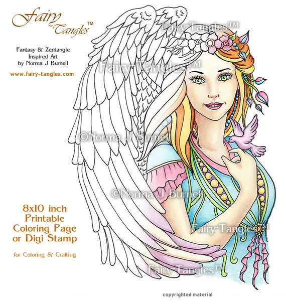 an angels peace fairy tangles printable adult coloring