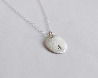 Initially yours (necklace) - Small sterling silver oval disc charm, hand stamped initial necklace