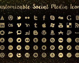Gold Social Media Icon Set, Social Media Logos, Gold Foil, Gold Metallic, Sparkles, Shiny icons, Watercolor icons, Elegant Icons,
