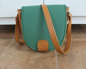 Forest Green and Faux Leather Sandra Saddle Bag