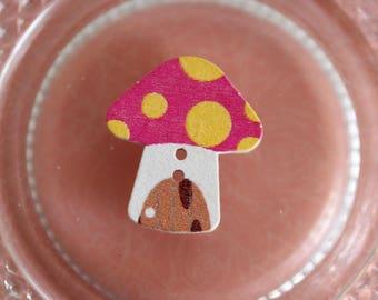 button wood mushroom pink & yellow