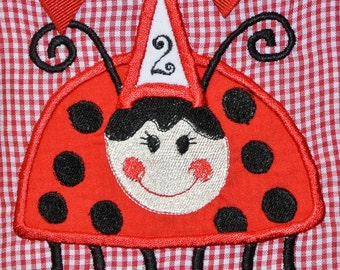 Girl's Birthday Ladybug Dress First Birthday and Beyond or Dress with Bloomers, Top and Shorts or Capris Outfit
