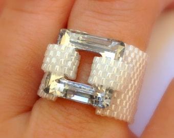 Swarovski ring / Beaded ring / Swarovski Crystal Jewelry / Swarovski Beaded Ring / Bead Jewelry / Peyote Ring