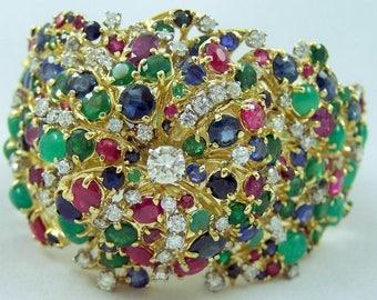 Vintage 14k Yellow Gold Bracelet 270 Diamonds, Rubies, Sapphire, Emeralds