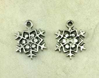 Snow Flake C Charm > Christmas Winter Frozen Ice Cold Weather - American Made Lead Free Pewter Silver - I ship internationally