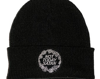Not Today Satan Black Beanie Hat Embroidered Patch - 2 Sizes - Stoner Hipster Cute Bianca Del Rio RuPaul's Drag Race Trans LGBT Queer Meme